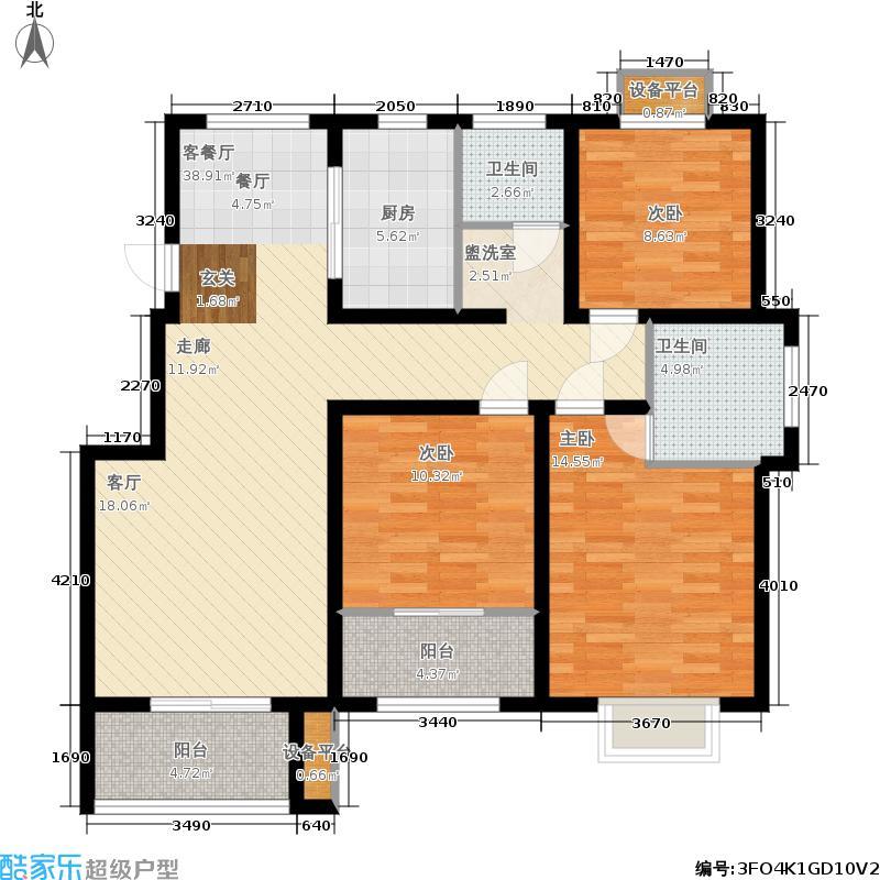 煌庭棕榈湾112.00㎡1-6#楼西边C2户型