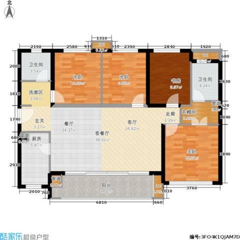 万科公园里4室1厅2卫1厨124.09㎡户型图