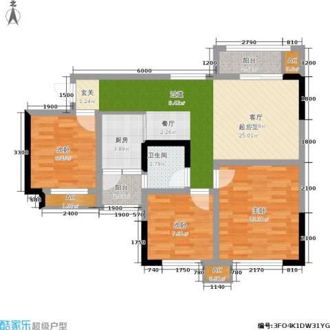 阳光英伦城邦3室0厅1卫1厨100.00㎡户型图