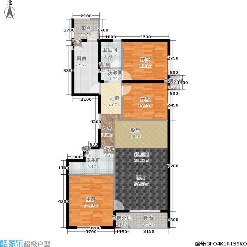 强佑·清河新城138.58㎡4号楼二单元B2三室户型3室2厅