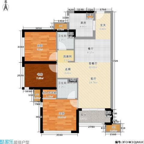 万科公园里3室1厅2卫1厨89.55㎡户型图