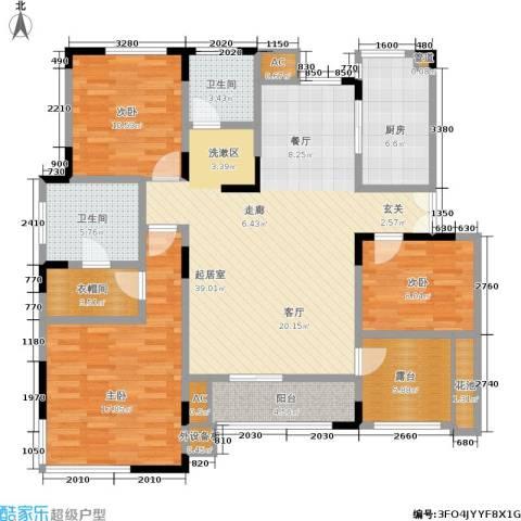 北江锦城3室0厅2卫1厨125.00㎡户型图
