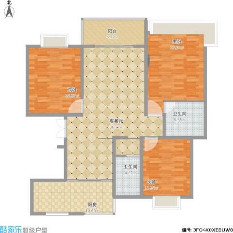 越湖名邸3室1厅2卫1厨148.00㎡户型图