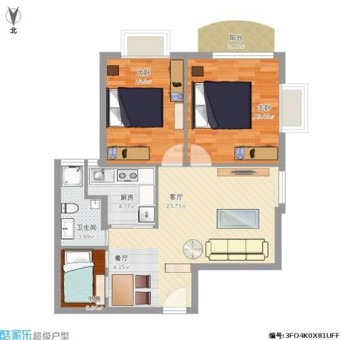 南山大厦3室1厅1卫1厨85.00㎡户型图