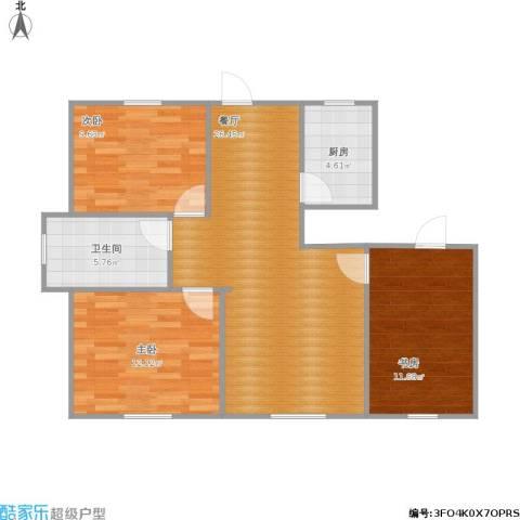 上城左岸3室1厅1卫1厨94.00㎡户型图
