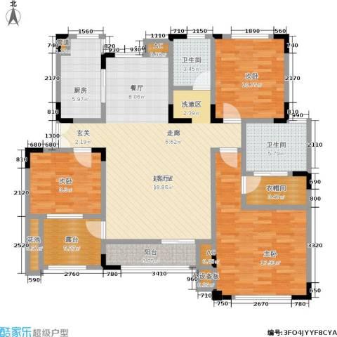 北江锦城3室0厅2卫1厨121.00㎡户型图