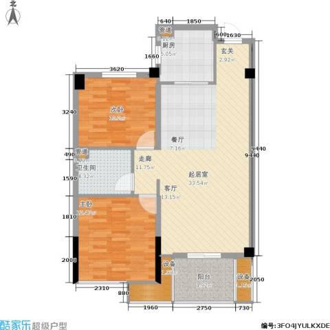 成坤・紫荆花园2室0厅1卫1厨88.00㎡户型图