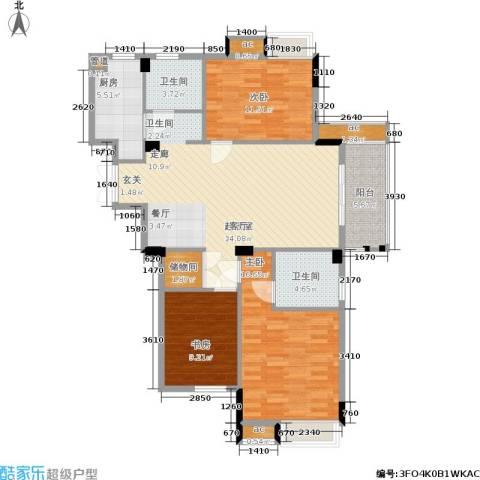 亲亲家园3室0厅2卫1厨107.00㎡户型图