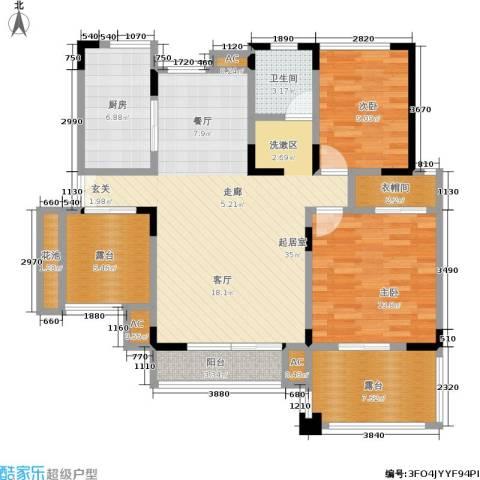北江锦城2室0厅1卫1厨104.00㎡户型图
