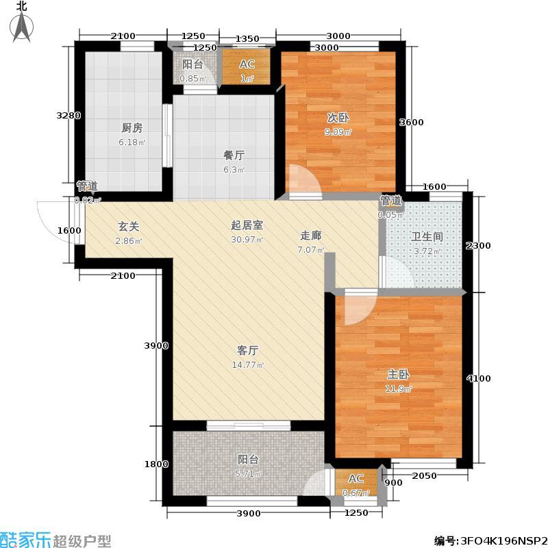 安联优悦城一期102号楼标准层2C-4户型
