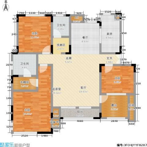 北江锦城3室0厅2卫1厨123.00㎡户型图