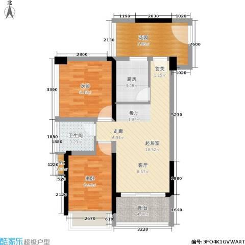京海成・鹿港溪山2室0厅1卫1厨82.00㎡户型图