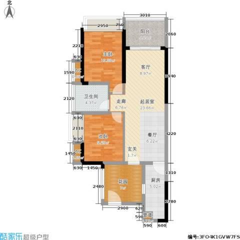 京海成・鹿港溪山2室0厅1卫1厨96.00㎡户型图