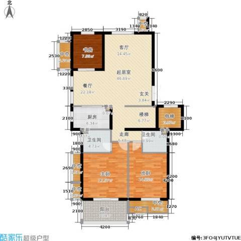 白云山庄3室0厅2卫1厨128.00㎡户型图
