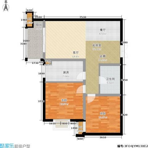 中铁・尚都城2室0厅1卫1厨87.00㎡户型图