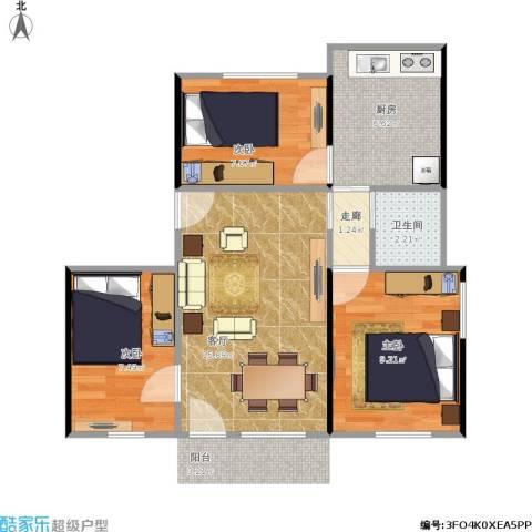 康乐园3室1厅1卫1厨68.00㎡户型图