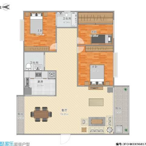 中山颐景花园3室1厅2卫1厨223.00㎡户型图