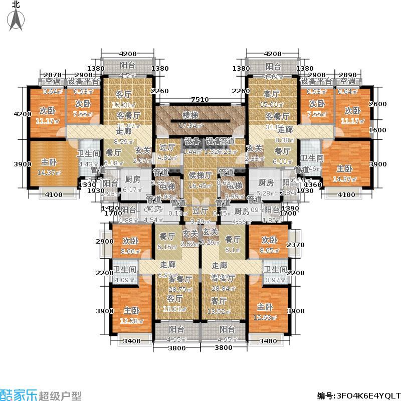 太原恒大山水城户型图5号楼3单元标准层平面示意图(4/10张)