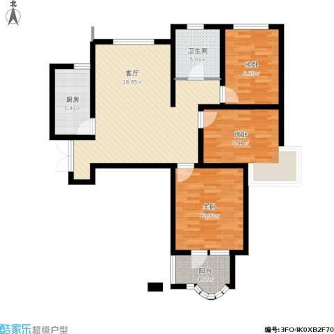 紫晶悦城3室1厅1卫1厨108.00㎡户型图
