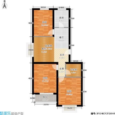 融和家园3室0厅1卫1厨86.72㎡户型图