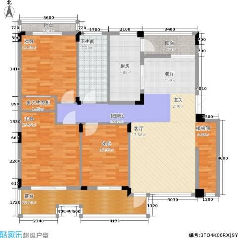 亲亲家园3室0厅1卫1厨160.00㎡户型图