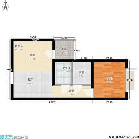 天星金地汇1室0厅1卫1厨44.00㎡户型图