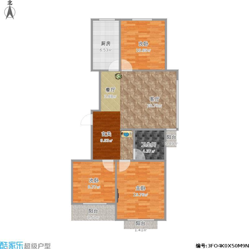 华宇城B区105方三室一厅