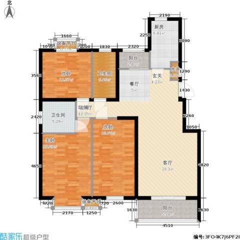 维多利金色华府3室1厅2卫1厨130.00㎡户型图