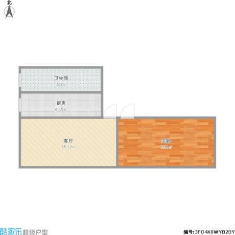 紫竹院路14号院1室1厅1卫1厨57.00㎡户型图