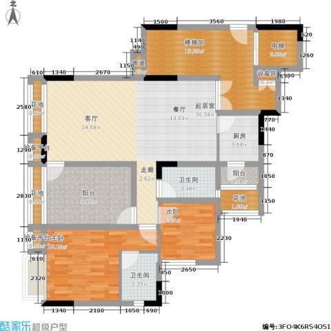 卓信龙岭2室0厅2卫1厨136.00㎡户型图