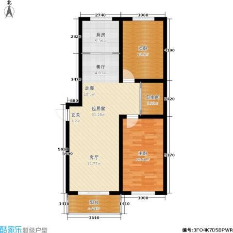 桃园新村2室0厅1卫1厨87.00㎡户型图