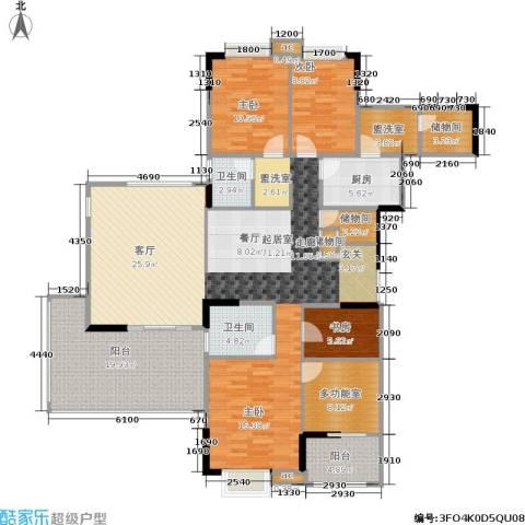 美好家园3室0厅2卫1厨165.00㎡户型图