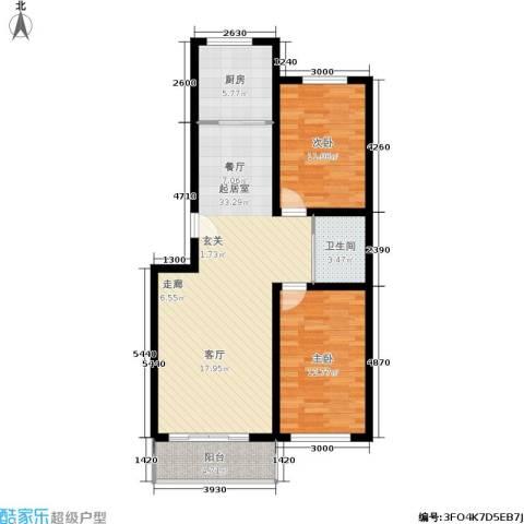 桃园新村2室0厅1卫1厨91.00㎡户型图