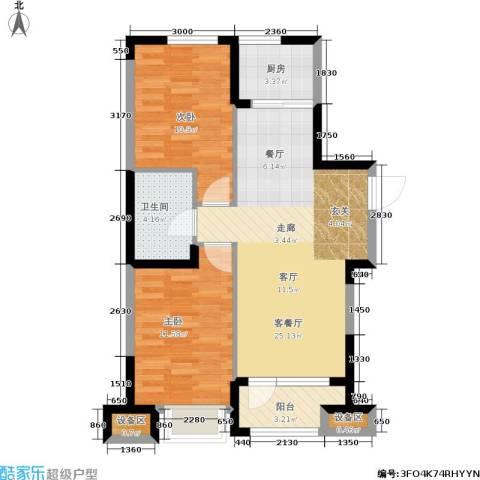 华强城2室1厅1卫1厨86.00㎡户型图