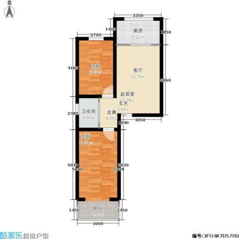 桃园新村2室0厅1卫1厨78.00㎡户型图