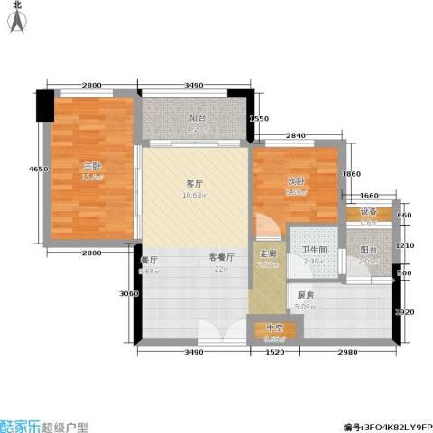 西城楼华府2室1厅1卫1厨81.00㎡户型图