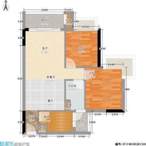 盈彩美居2室1厅1卫1厨83.00㎡户型图