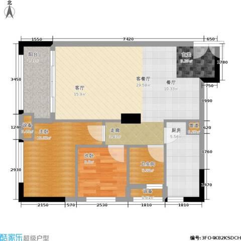 西城楼华府2室1厅1卫1厨86.00㎡户型图