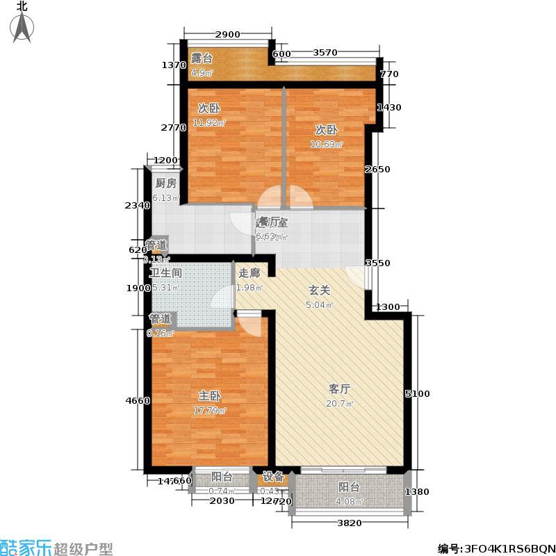 星河城(玺萌公馆)三期H-4(反)户型3室2厅