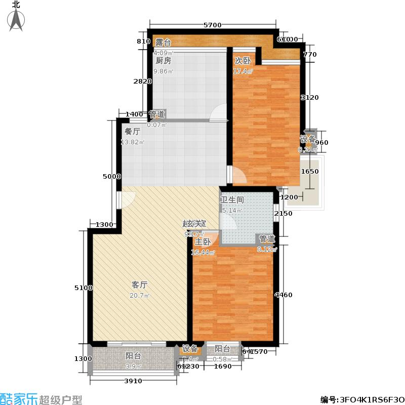 星河城(玺萌公馆)三期H-3(反)户型2室2厅