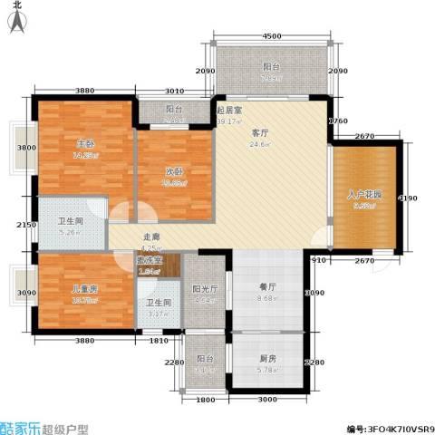 金河铭庄3室0厅2卫1厨137.00㎡户型图