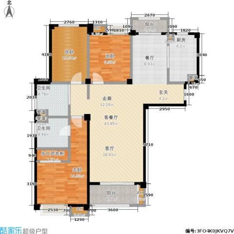 兆地尊庭3室1厅2卫1厨119.00㎡户型图