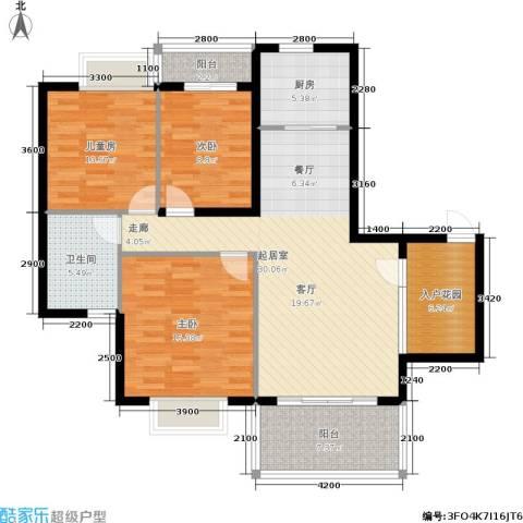 金河铭庄3室0厅1卫1厨112.00㎡户型图