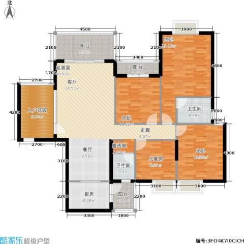 金河铭庄4室0厅2卫1厨156.00㎡户型图