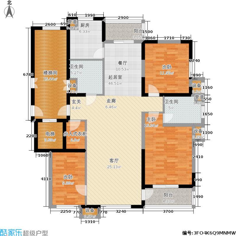 昊源高格蓝湾138.91㎡A户型 三室二厅二卫 138.91平方米户型