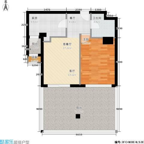 建国国际公寓1室1厅1卫1厨75.00㎡户型图
