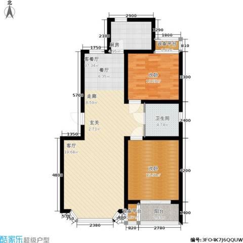 维多利金色华府2室1厅1卫1厨97.00㎡户型图