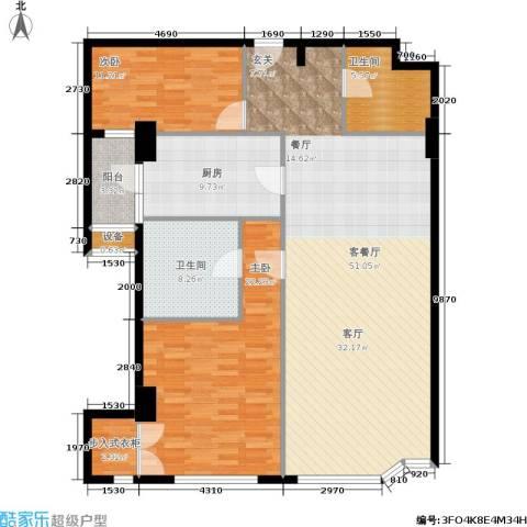 建国国际公寓2室1厅2卫1厨128.00㎡户型图