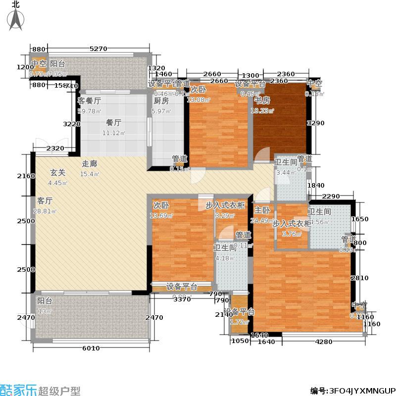万科缤纷四季151.00㎡北区4号楼04单元4室户型