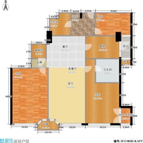 建国国际公寓3室1厅2卫1厨166.00㎡户型图